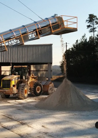 Gypsum being piled ready for loading.